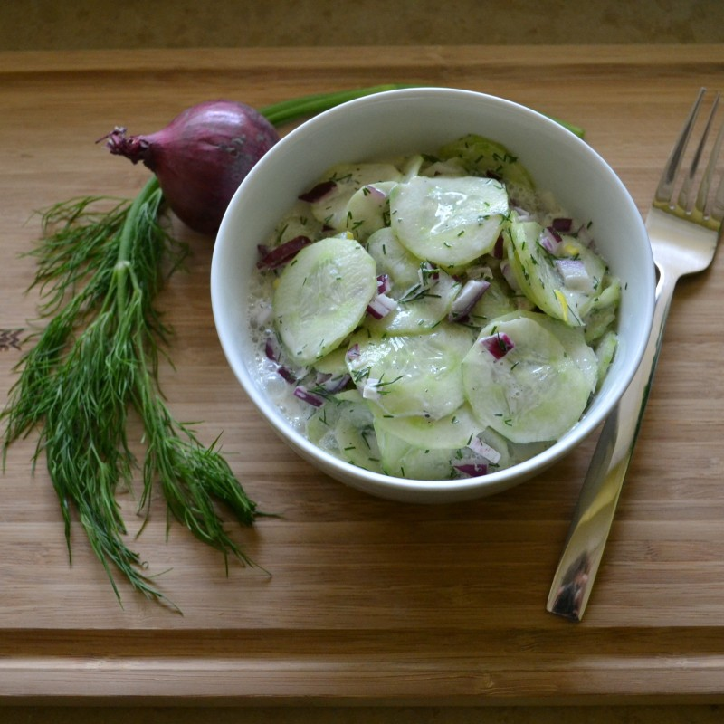 Gurkensalat mit Sahne-Ingwersoße