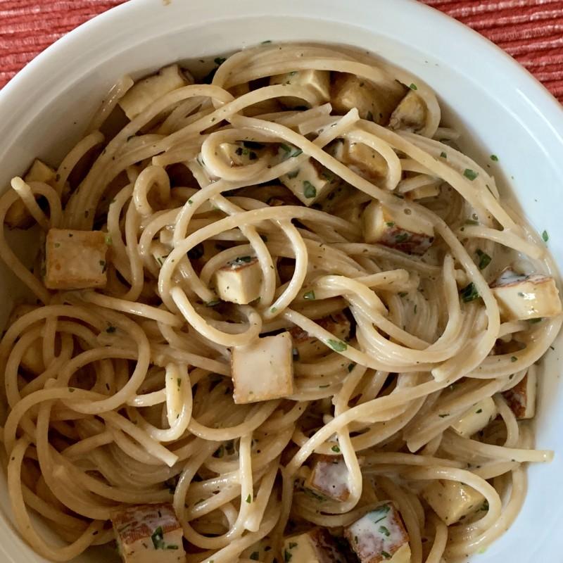 Schnelle Vegane Spaghetti Carbonara