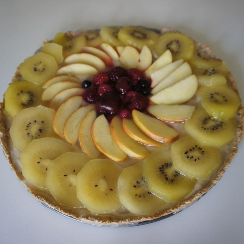 Obstkuchen mit Vanillepudding-Creme