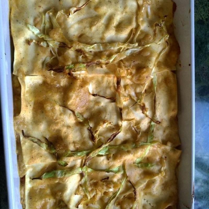 Lasange mit Gemüse-Senf-Sauce