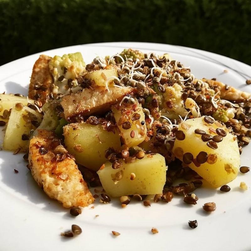 Warmer Linsen Romanesco Salat