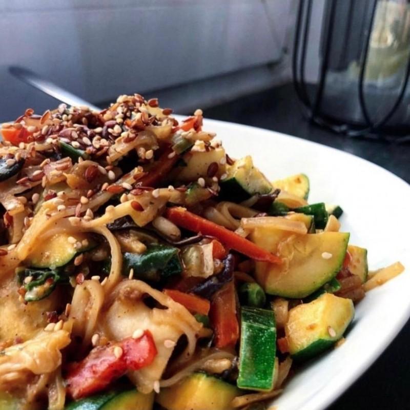 Vegan Rice Ribbon Noodle Dish