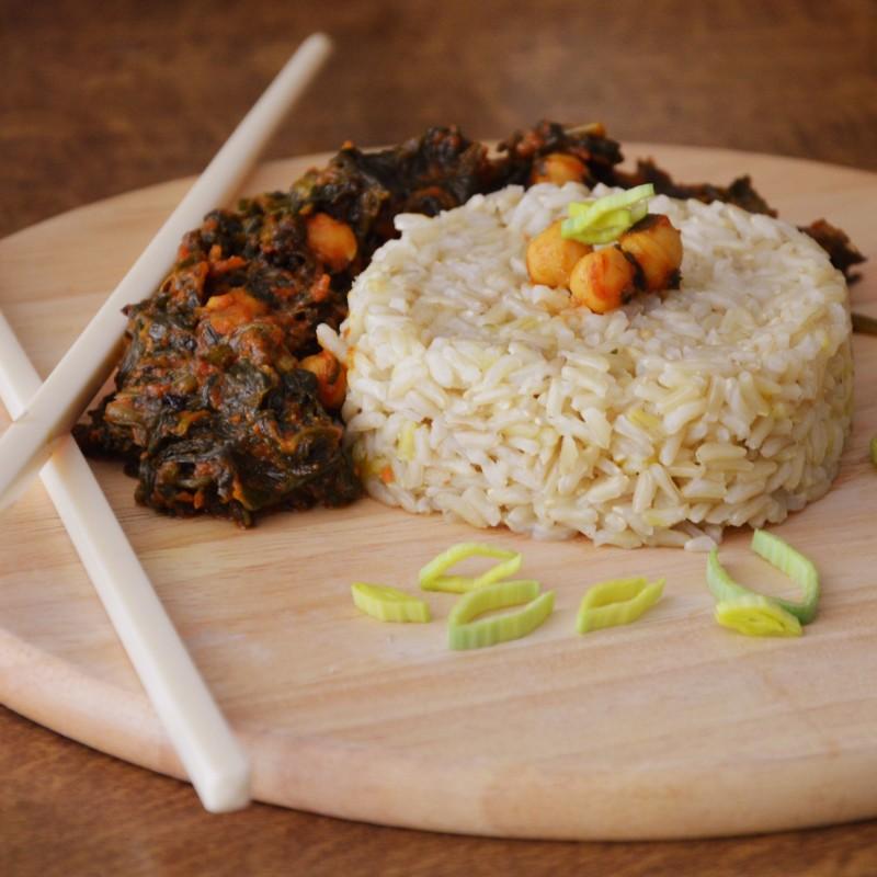 Kichererbsen-Spinat-Curry-Pfanne