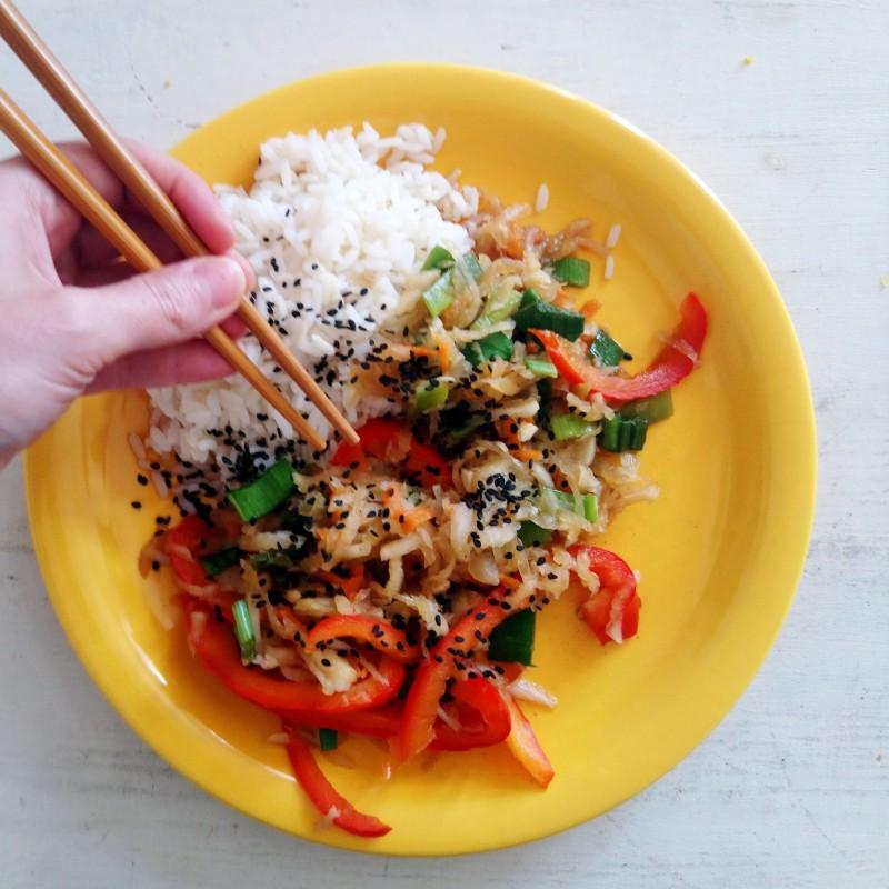 Asiatisches Rettichgemüse + Reis