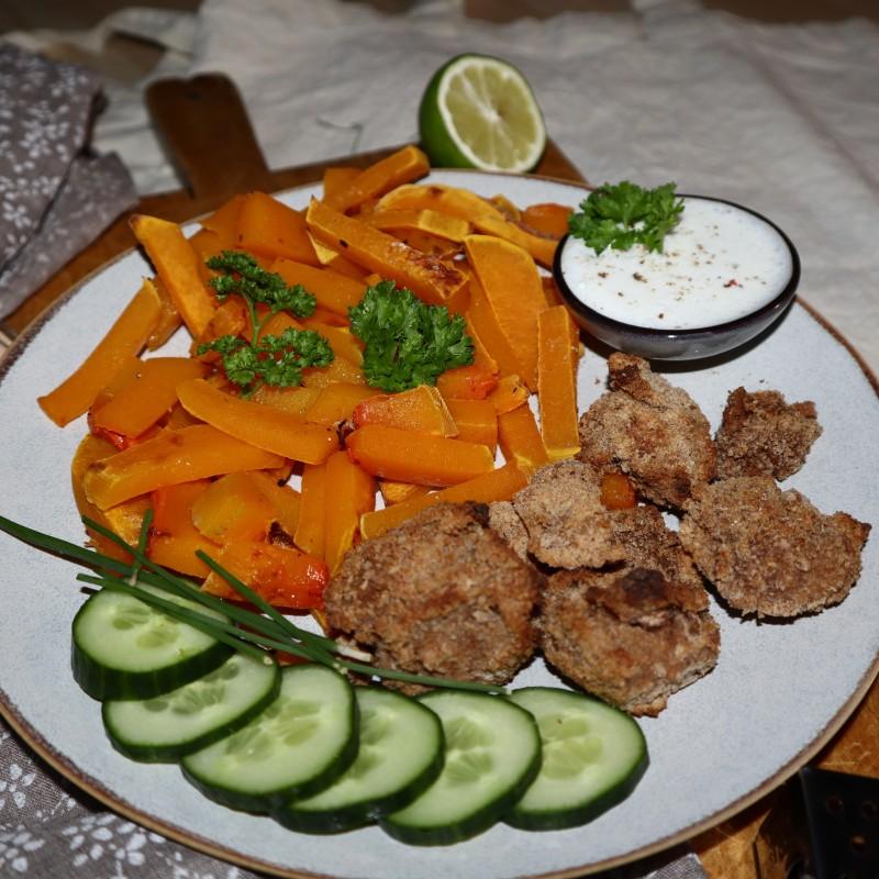 Kürbispommes mit Tofu Nuggets